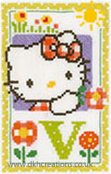 Hello Kitty Alphabet Letter V Cross Stitch Kit
